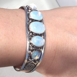 Opalite Silver Plated bracelet Cuff Etched Wide